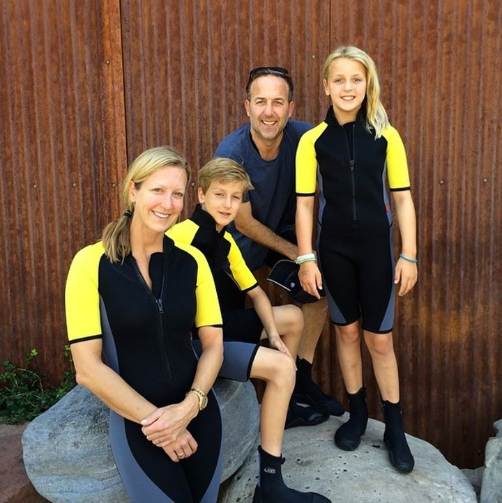 Lara Spencer's family photo. The photo featured her ex-husband David Haffenreffer, son Duff and daughter Kate.