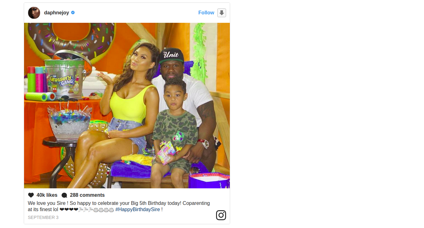 Daphne Joy sharing a post with her ex-boyfriend and son, SIre Jackson on the occasion of her son's fifth birthday. She shares her son with rapper 50 cent.
