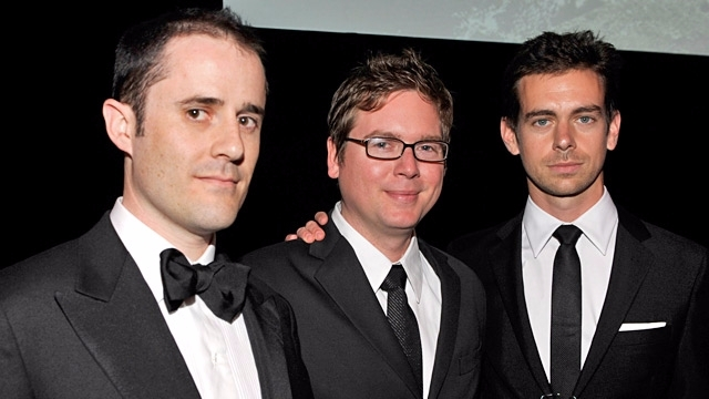 Co-founders of Twitter Jack Dorsey, Evan Williams and Biz Stone clad in black Tuxedo, pose for a picture