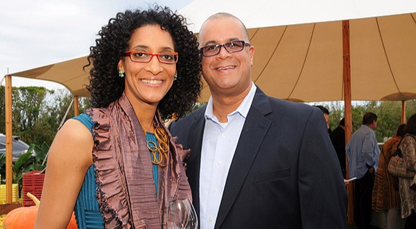 Carla Hall and husband Matthew Lyons enjoying at Harvest East End. First met through an online dating service, they are really made for each other.