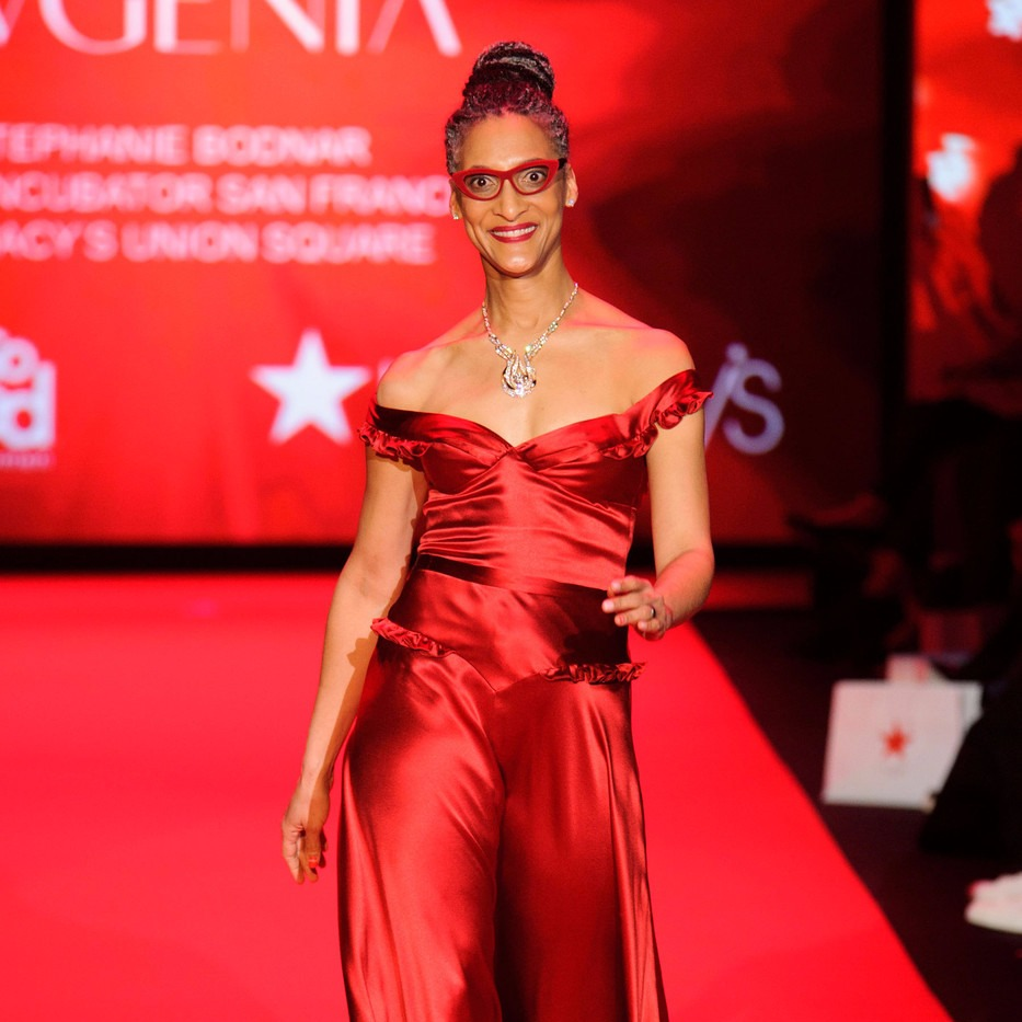 Carla Hall walking runway at Go Red for Women Red Dress Collection 2015