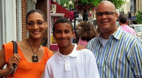 Carla Hall with husband Mathew Lyons and stepson Noah