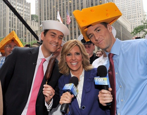 Dave Briggs during his Fox and Friends weekends' days with his co-hosts Ainsley Earhardt and Clayton Morris. They are covering the All American Concert, Montgomery Gentry.