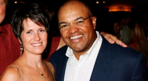 Mike Tirico posed with his wife Debbie Tirico