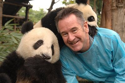 Nigel Marven is seen with panda