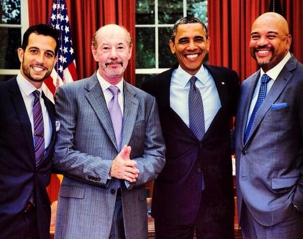 Tony Reali with former president, Barack Obama