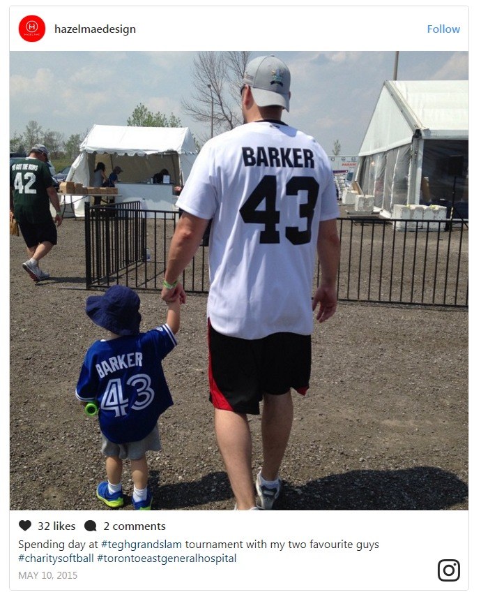 Hazel Mae hints about her baby boy in an Instagram post, where two people are wearing jerseys labelled as 'Barker 43'.