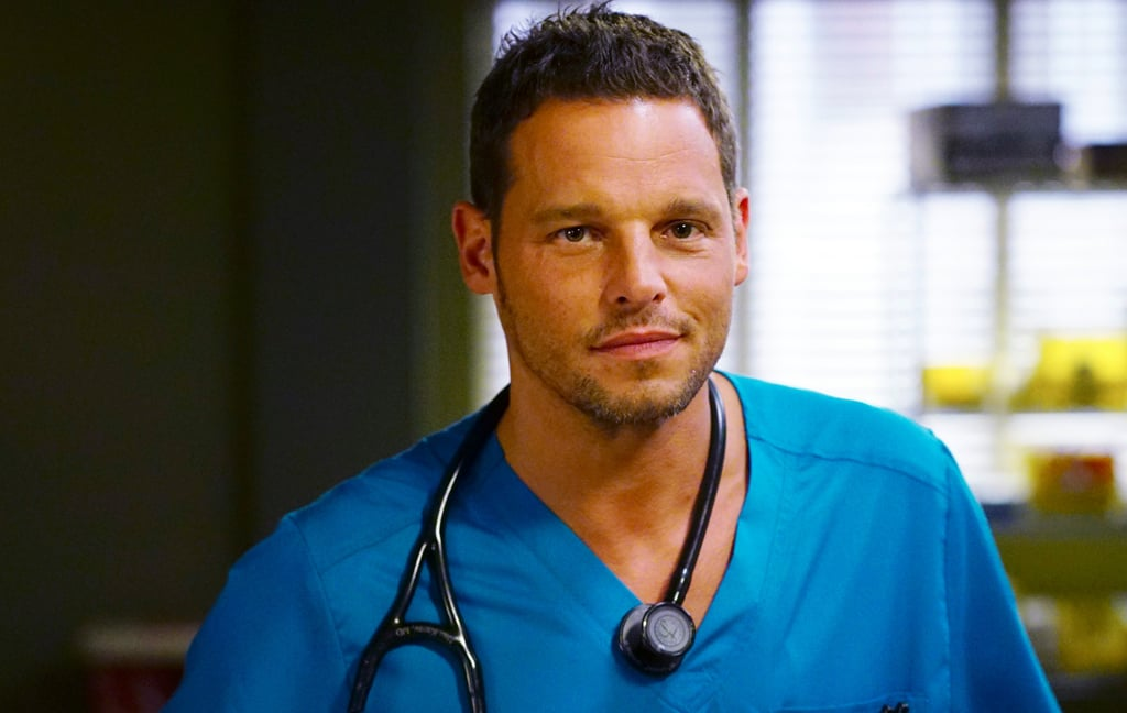 Justin Chambers as Alex Karev on the set of Grey's Anatomy