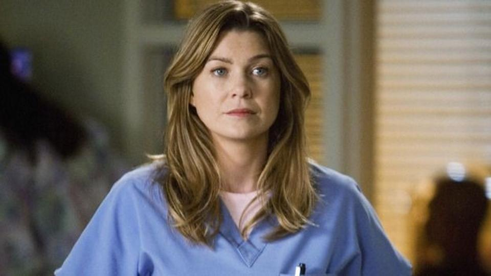 Ellen Pompeo as Dr. Meredith Grey on the set of Grey's Anatomy