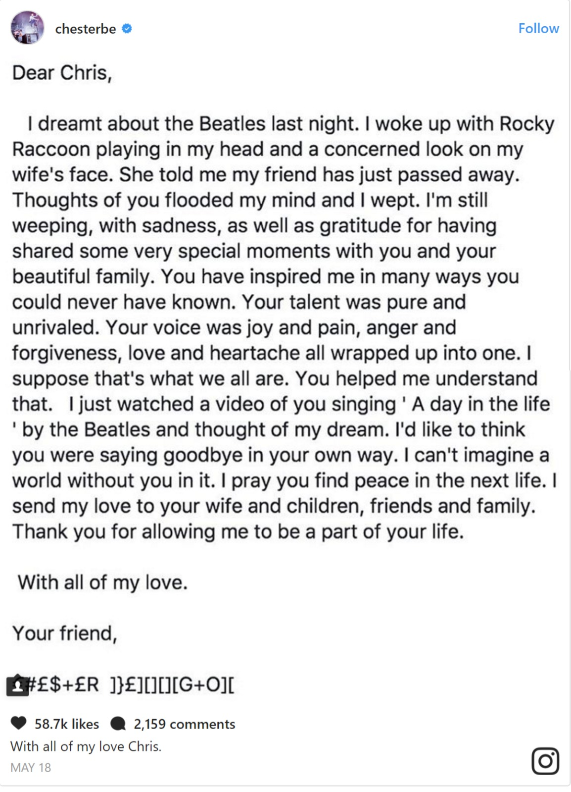 Chester Bennington's Instagram note to Chris Cornell