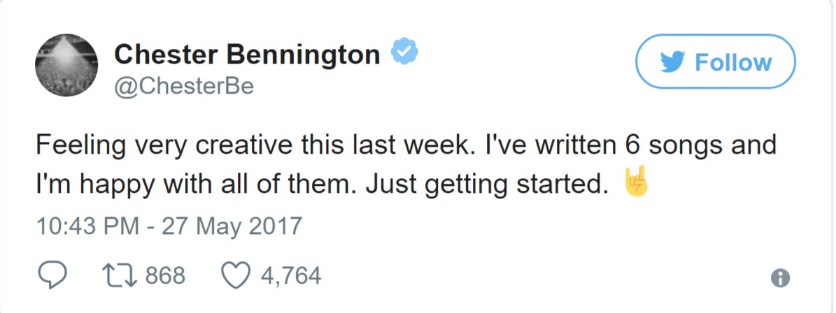 Chester Bennington's last tweets