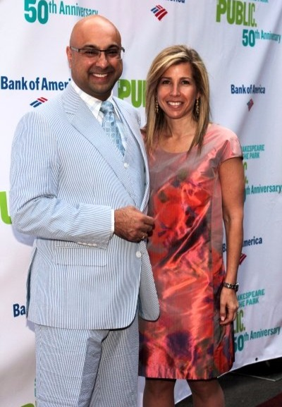 Ali Velshi with his wife at The Public Theater's celebration of 50 years at Delacorte and Honors Al Pacino