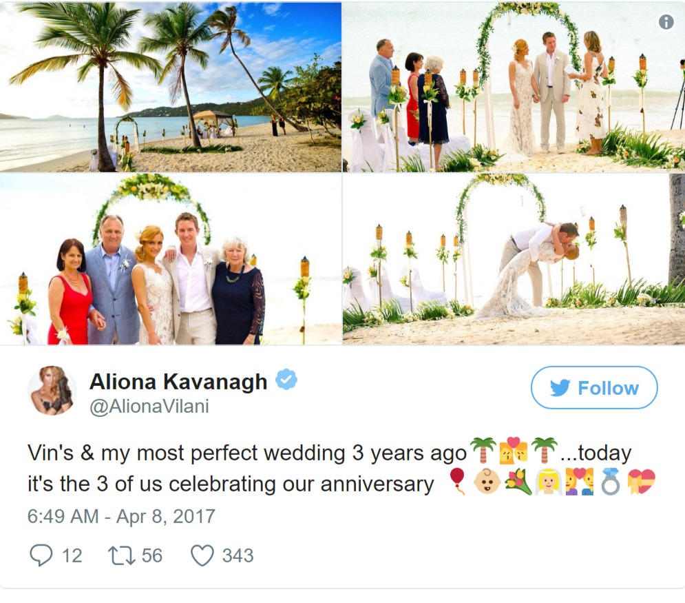 Aliona Vilani Twitter post containing photos from her wedding three years ago