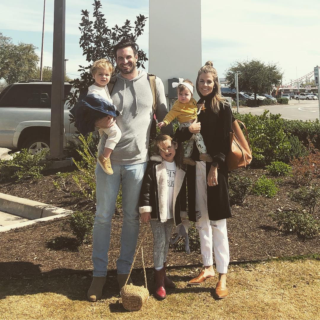 Samantha Ponder and Christian Ponder with their children, two daughters and a son