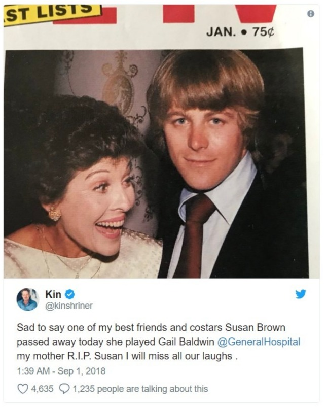 Kin Shrinner's tweet with a picture of him with General Hospital actress Susan Brown