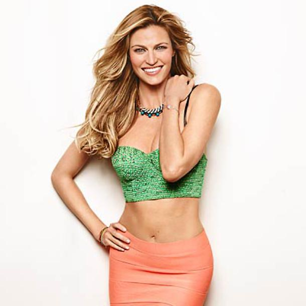 Erin Andrews in hot green top and pink skirt