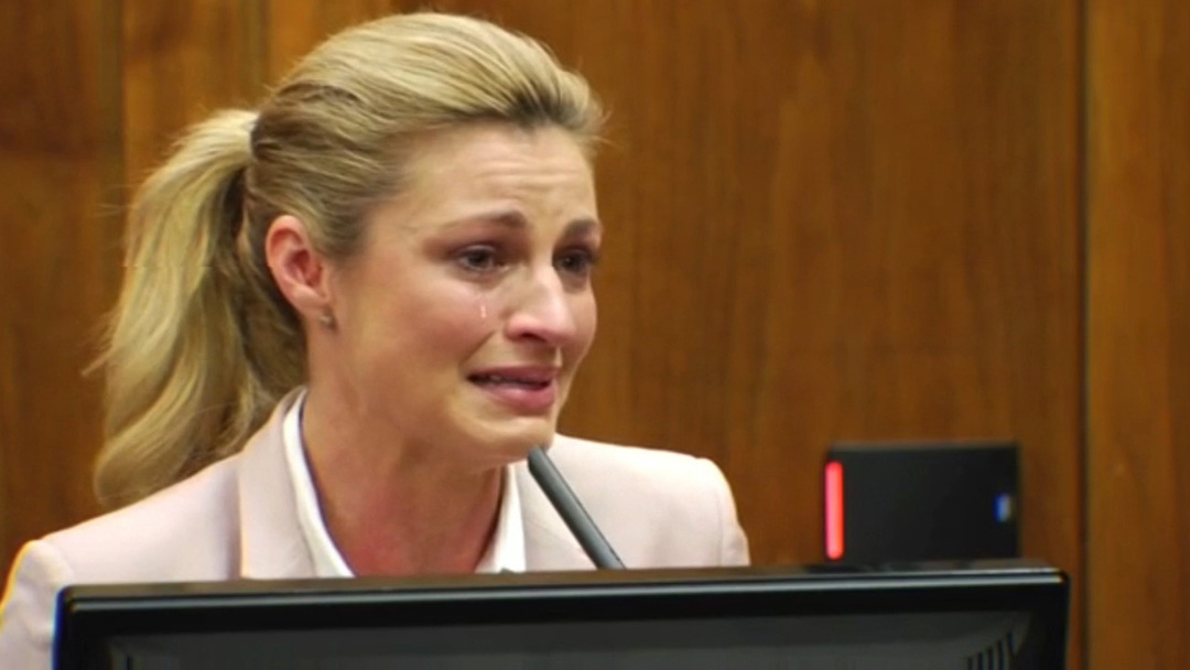 Erin Andrews crying during the court's trial for the peephole video