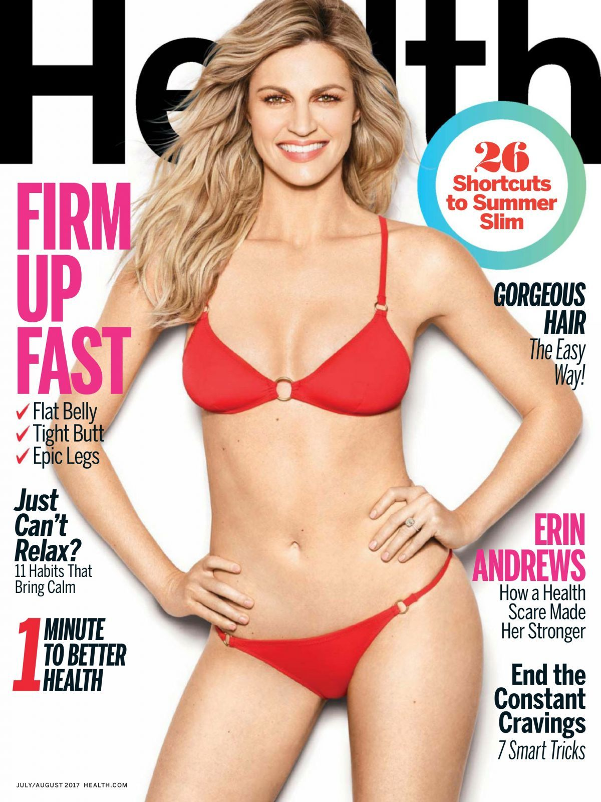 Erin Andrews' flaunting her hot body measurements in red bikini. The photo was featured in July/August 2017 issue of Health magazine