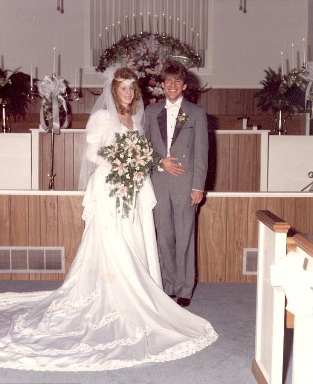 Todd Chrisley and his then-wife, Teresa Terry in their wedding dresses