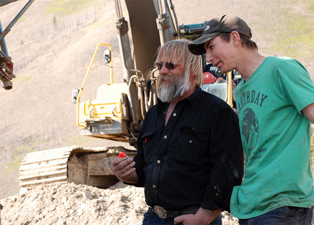 Tony Beets and Parker Schnabel working in the gold mining site