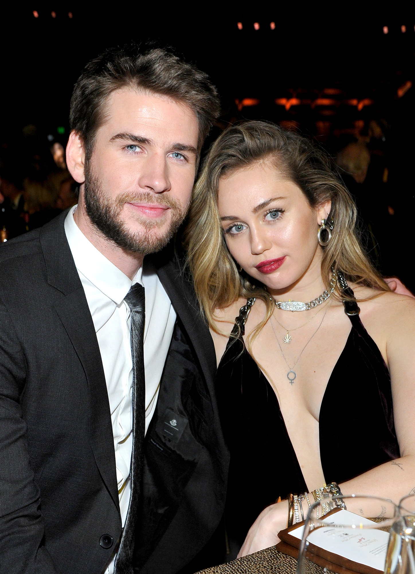 Hunger Games star, Liam Hemsworth and Miley Cyrus. The two fell in love on the set of the Nicholas Sparks movie, The Last Song. They later got engaged in May 2012 but called it quit in September 2013.