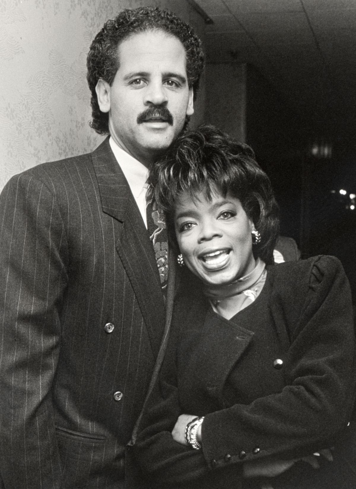 black and white picture if Oprah Winfrey with her boyfriend Stedman Graham. Oprah Winfrey's boyfriend Stedman Graham revealed that he was known as Mr. Oprah untill 1997