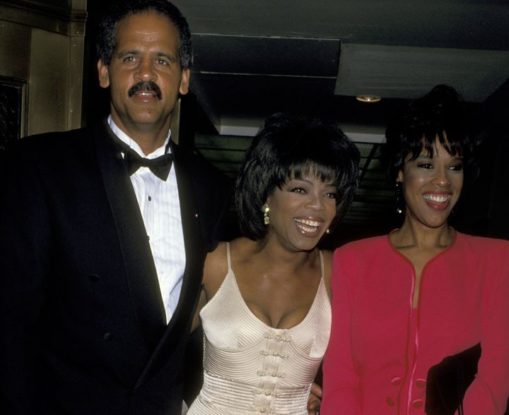 Oprah Winfrey, Gayle King and Stedman Graham posing for a picture. Once Stedman Graham was accused of cheating on Oprah Winfrey with her hairdresser. Oprah once battled the speculation of having a romantic relationship with her best friend, Gayle King.