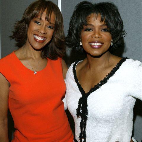 Oprah Winfrey and her friend Gayle King. Oprah Winfrey and Gayle King were rumored to be in a lesbian relation