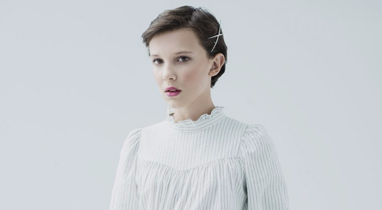 Millie Bobby Brown in a striped top