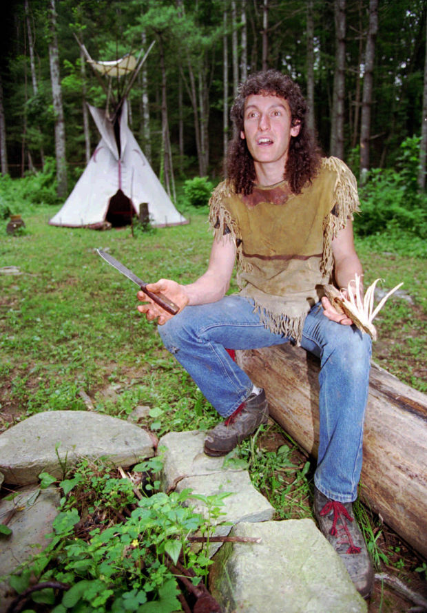 Naturalist Eustace Conway residing in a tipi out in the forest. At age 12 Eustace Conway had lived off in the forest for a whole week and even made his own shelter