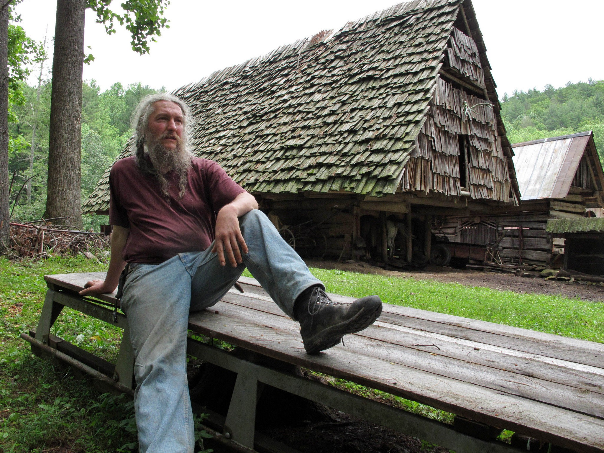 Eustace Conway at  environmental education centre, Turtle Island Preserve in Boone, North Carolina. Eustace Conway's story regarding the building violation case covered by the Fox News Special, War on the Little Guy