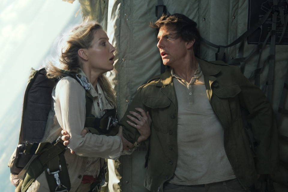 Annabelle Wallis grabbing Tom Cruise's arm