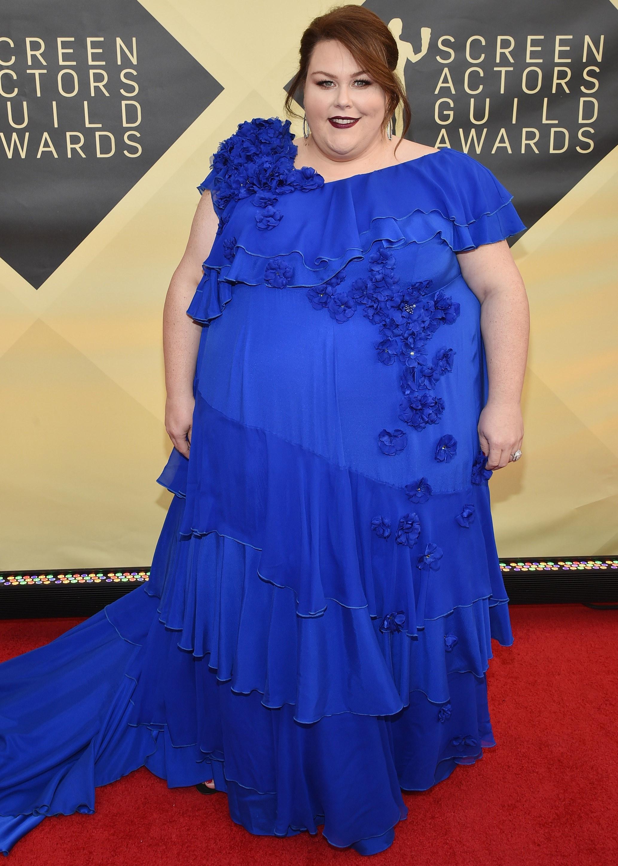 Chrissy Metz wearing a beautiful blue dress at Screen Actors Guild Awards