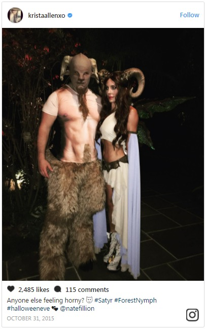 Nathan Fillion and girlfriend Krista Allen during a Halloween program. The couple has been in a relationship and are likely to get married