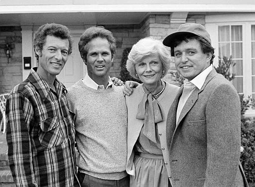 Black and white image of ken with Leave it to Beaver Cast