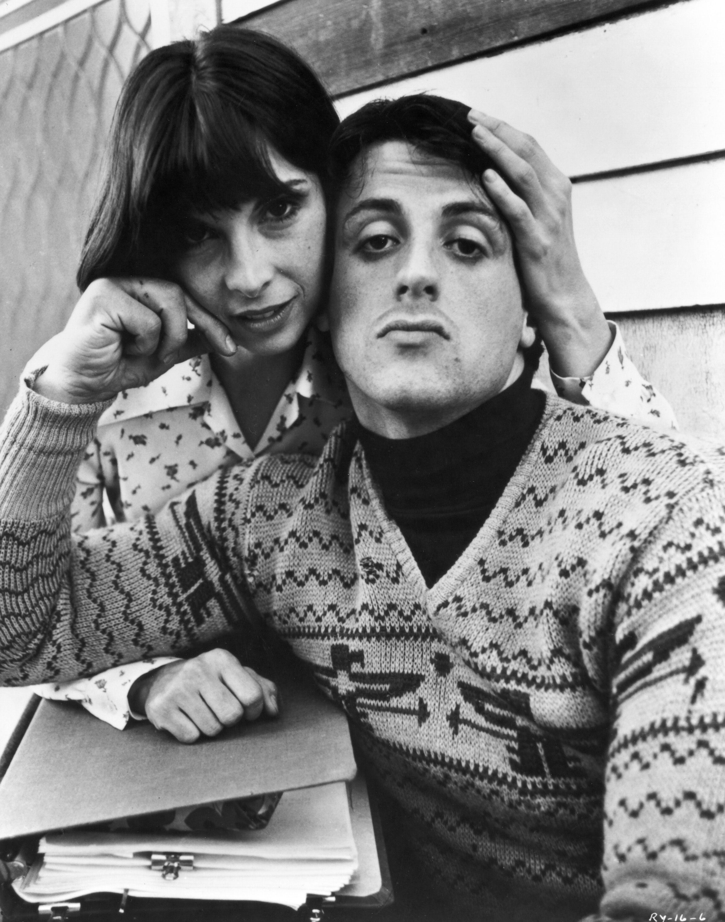 Talia Shire in the movie Rocky with Sylvester Stallone