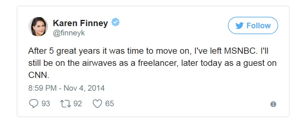 Karen Finney served for MSNBC for five years as political commentator and called it quits on 2014.