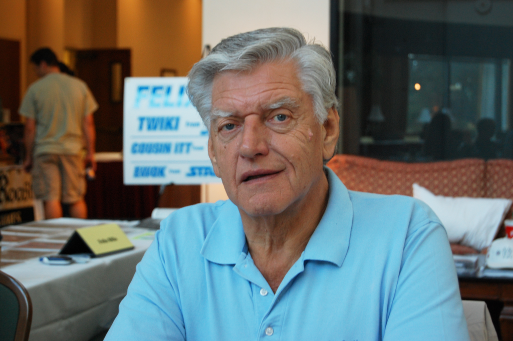 David Prowse in a sky blue polo t-shirt