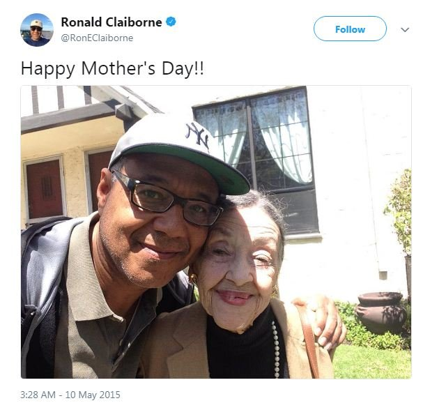Ron Claiborne's Mother's Day tweet from May 10, 2015.