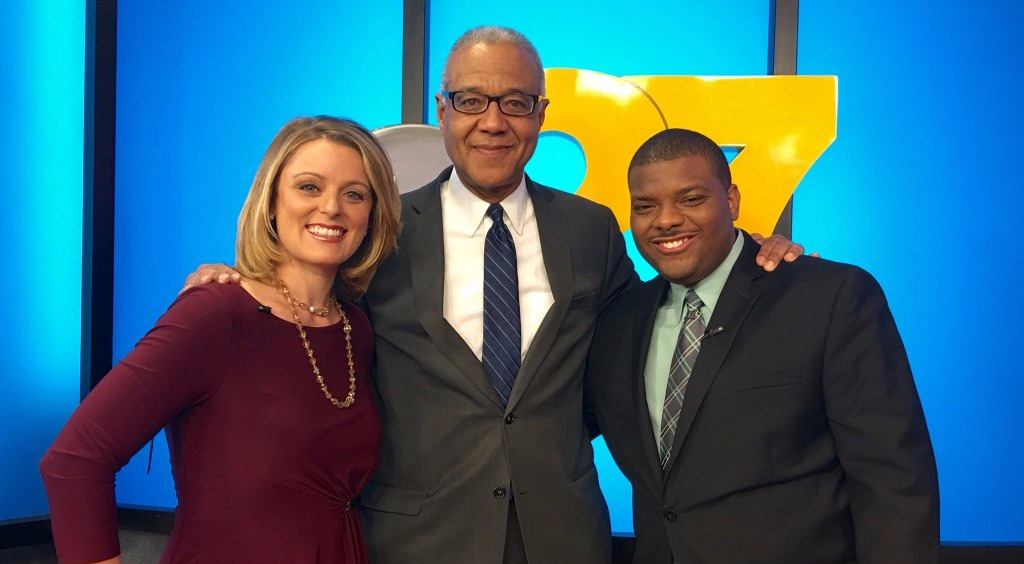 Ron Claiborne with James Crummer and Ali Lanyon at ABC studio