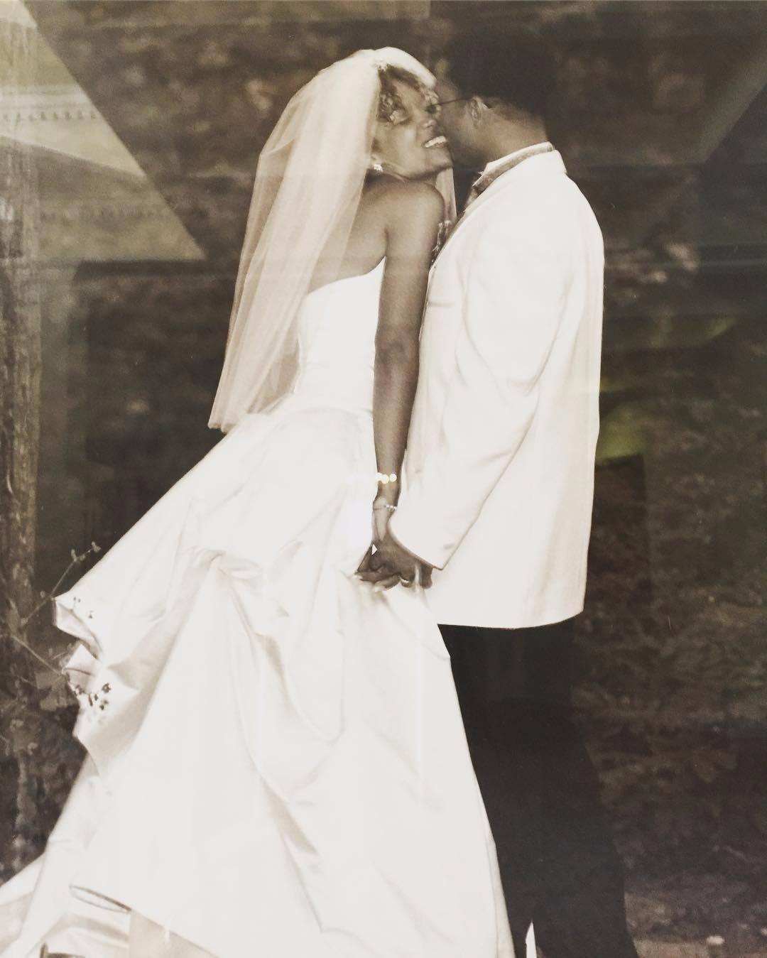 Sunny Hostin and Emmanuel Hostin on their wedding day.