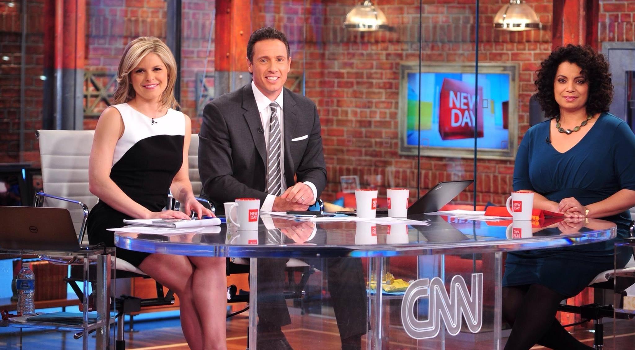 Kate Bolduan, Michaela Pereira and Chris Cuomo on a talk show 'New Day'