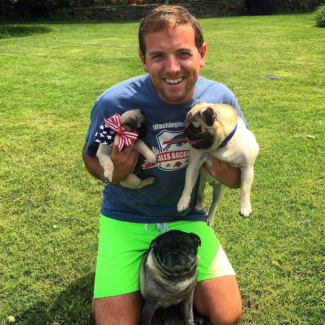 Animal lover Luke Russert enjoys to spend free time with dogs