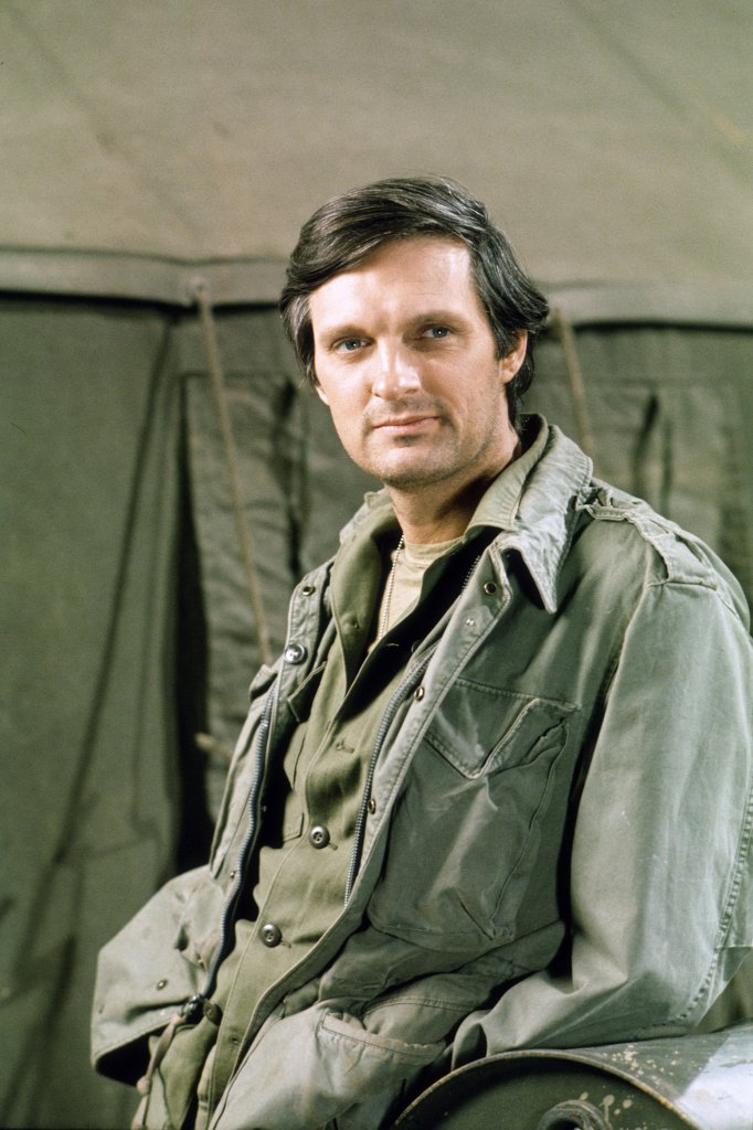 Alan during the shooting of MASH. He is wearing military uniform.