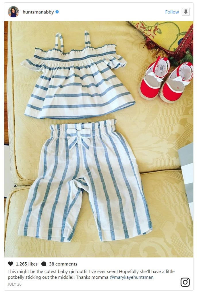 Abby Huntsman took to Instagram to announce that she is pregnant. She also revealed the baby's gender via Instagram by sharing a cute two piece dress and a red shoe.