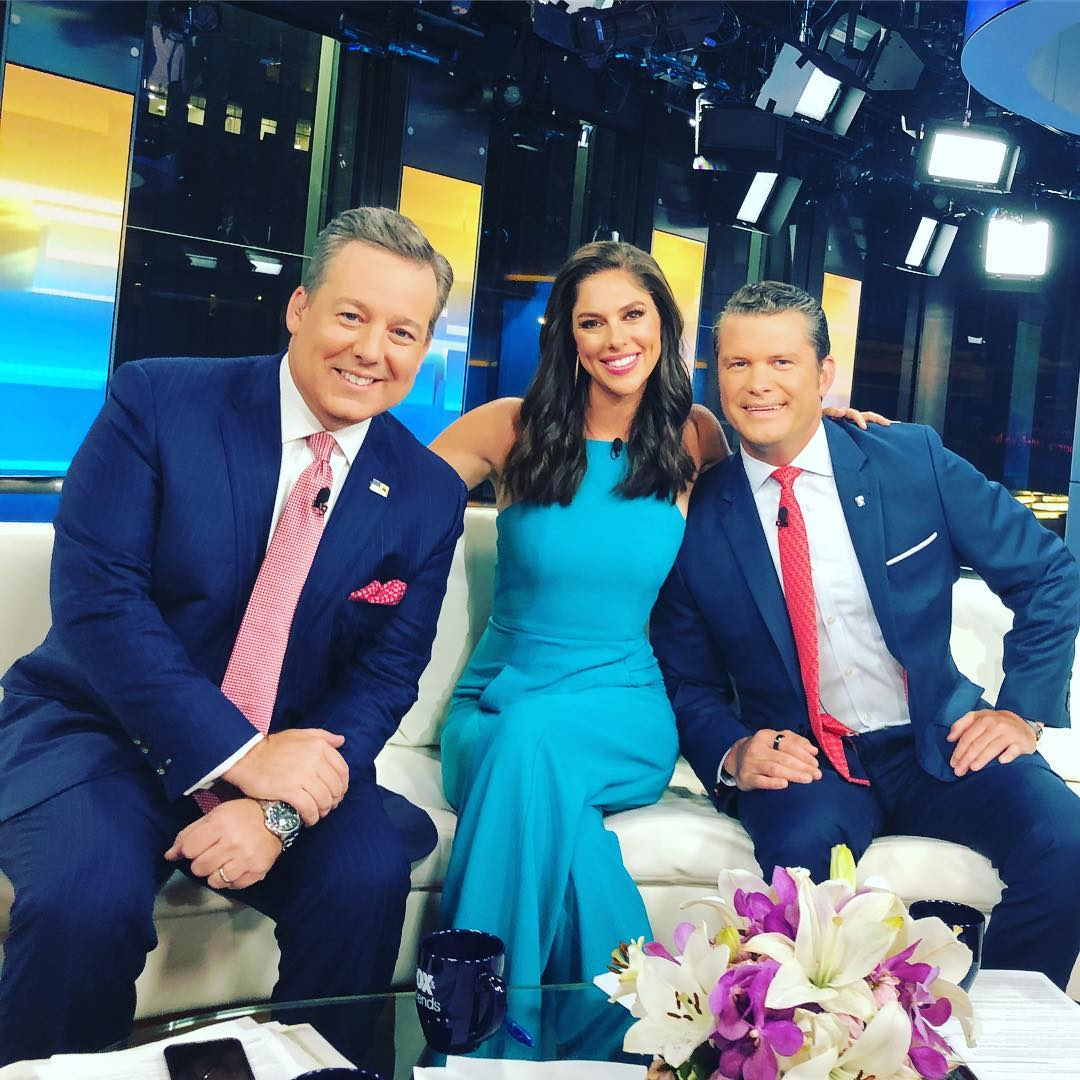 Abby Huntsman with her Fox and Friends, co-anchors, Ed Henry and Pete Hegseth