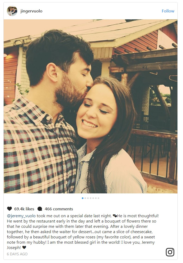 Jinger Duggar shared on Instagram about her husband Jeremy Vuolo taking her on a special date.