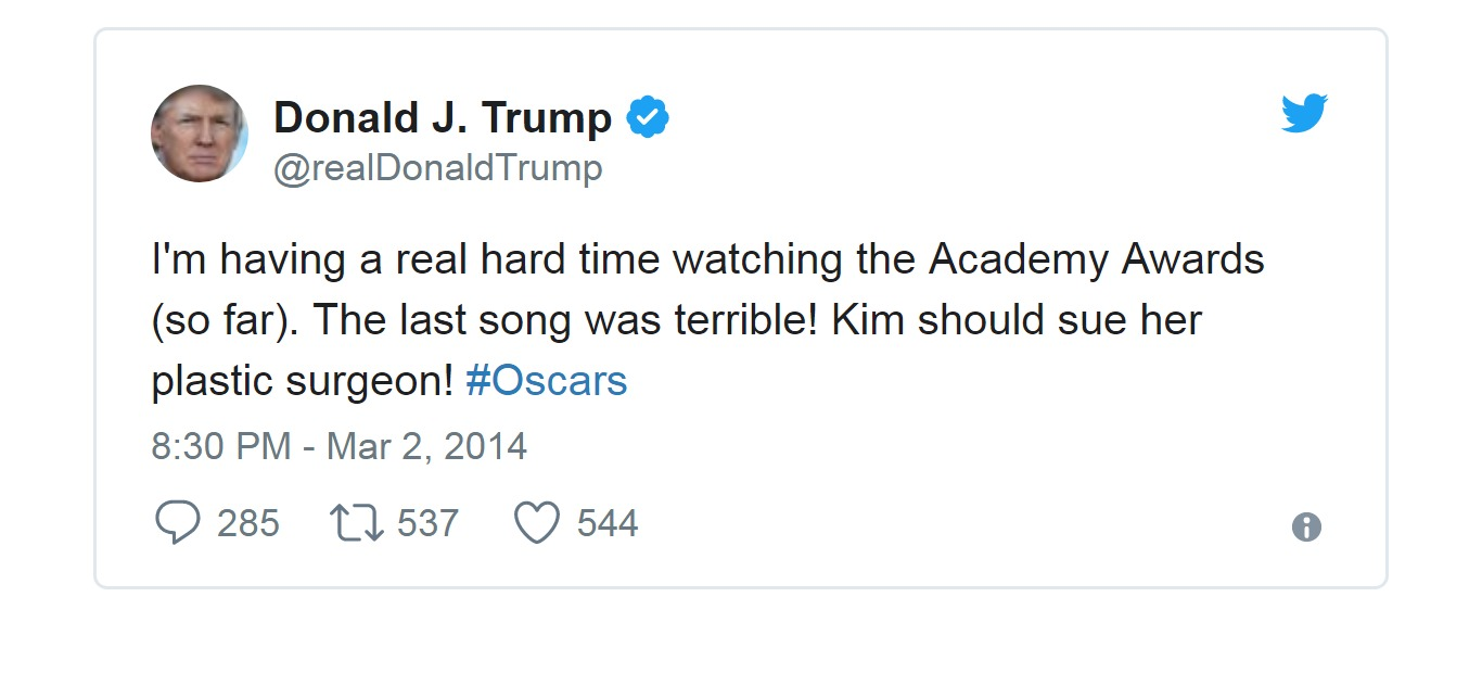 Donald Trump took to Twitter to comment on Kim Novak's 2014 Oscar appearance.