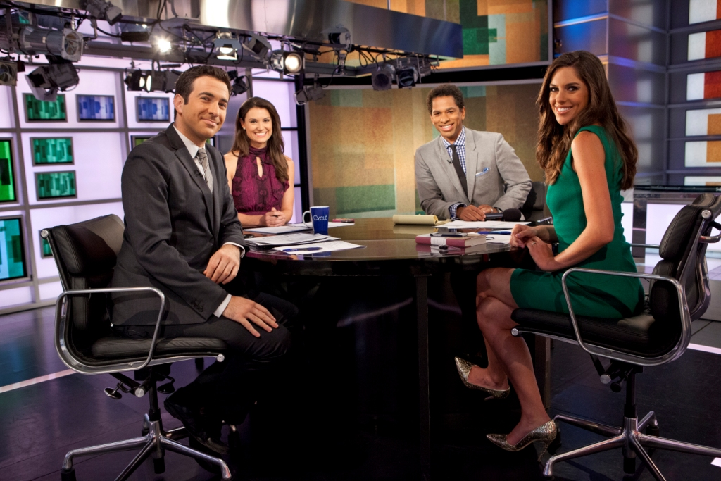 Krystal Ball on the sets of The Cycle with her co-hosts from the show