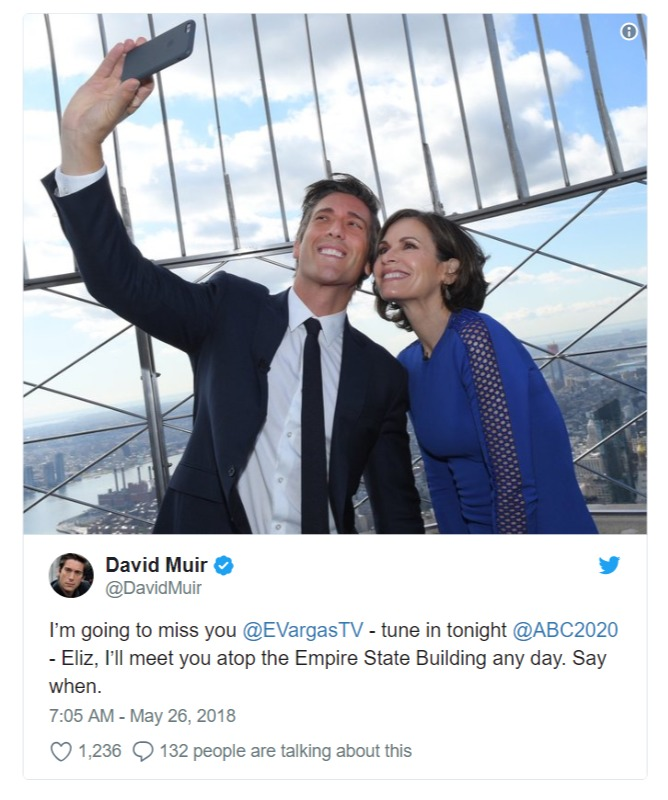David Muir's tweet for his former co-anchor Elizabeth Vargas